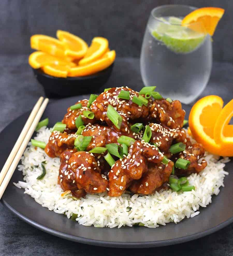 Orange chicken recipe, chicken appetizers and side dishes, vegan orange chicken using homemade orange sauce, thanksgiving dinner, holiday recipes, football and super bowl party food