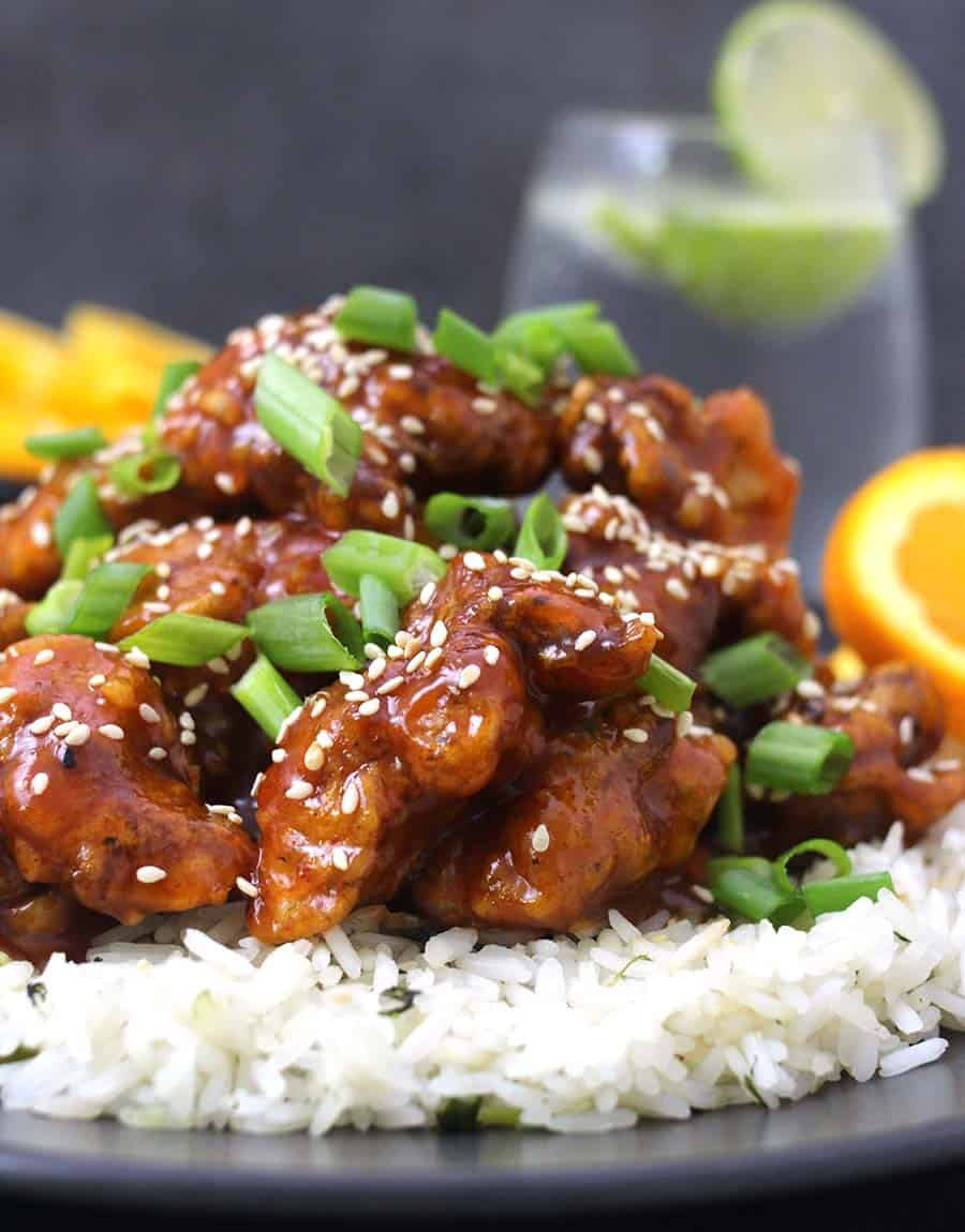 Orange chicken, chicken appetizer, side dish or finger food recipes, sticky honey sesame chicken, spicy chicken wings, buffalo chicken