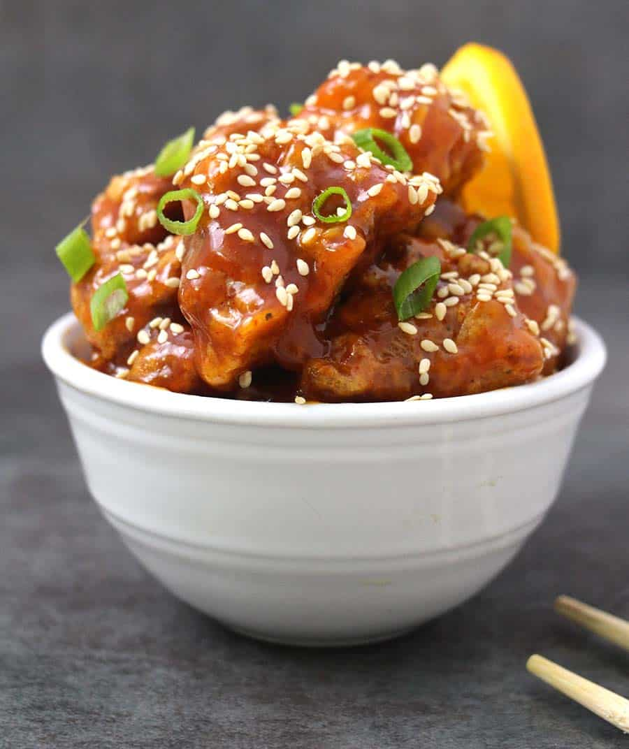 Orange chicken North American Chinese dish, is orange chicken spicy?, difference between orange chicken and general Tso's