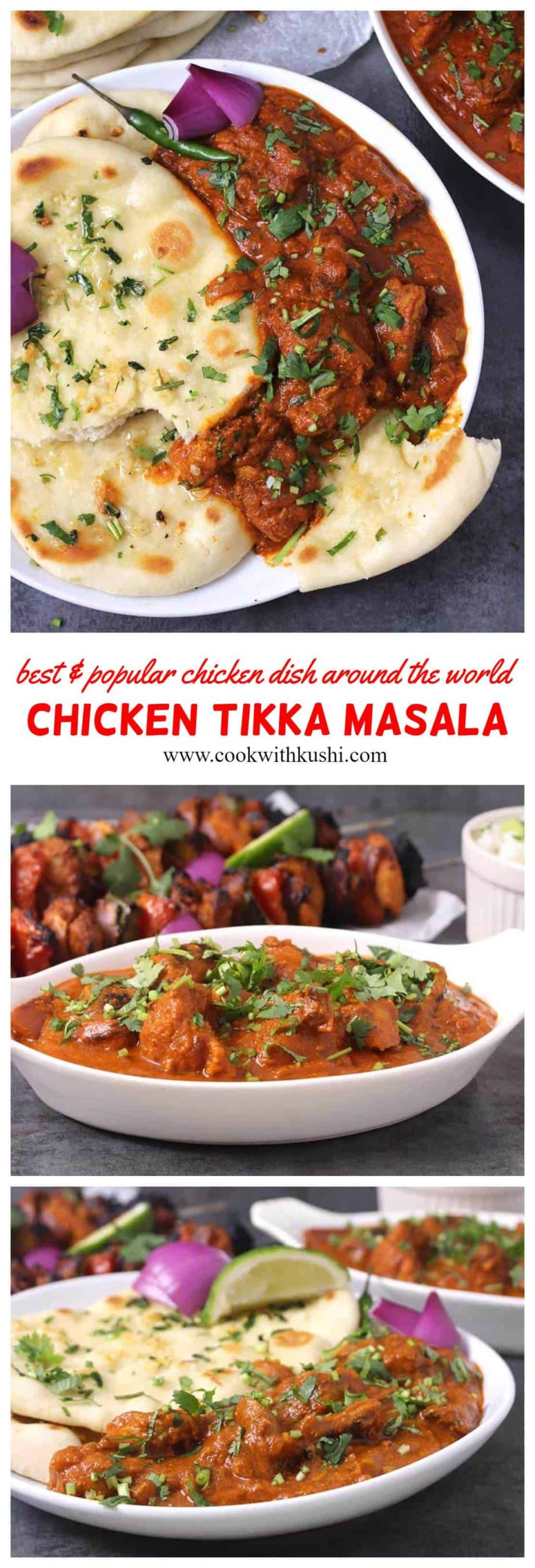 Chicken Tikka Masala is a addictive, classic dish for lunch or dinner where the chicken marinated in aromatic spices is first grilled and then mixed in a finger licking sauce (masala). #chickentikkamasala #tikkamasala #tikkasauce #tandoorichicken #chickenkebab #grilledchicken #naanandcurry #rotiandgravy