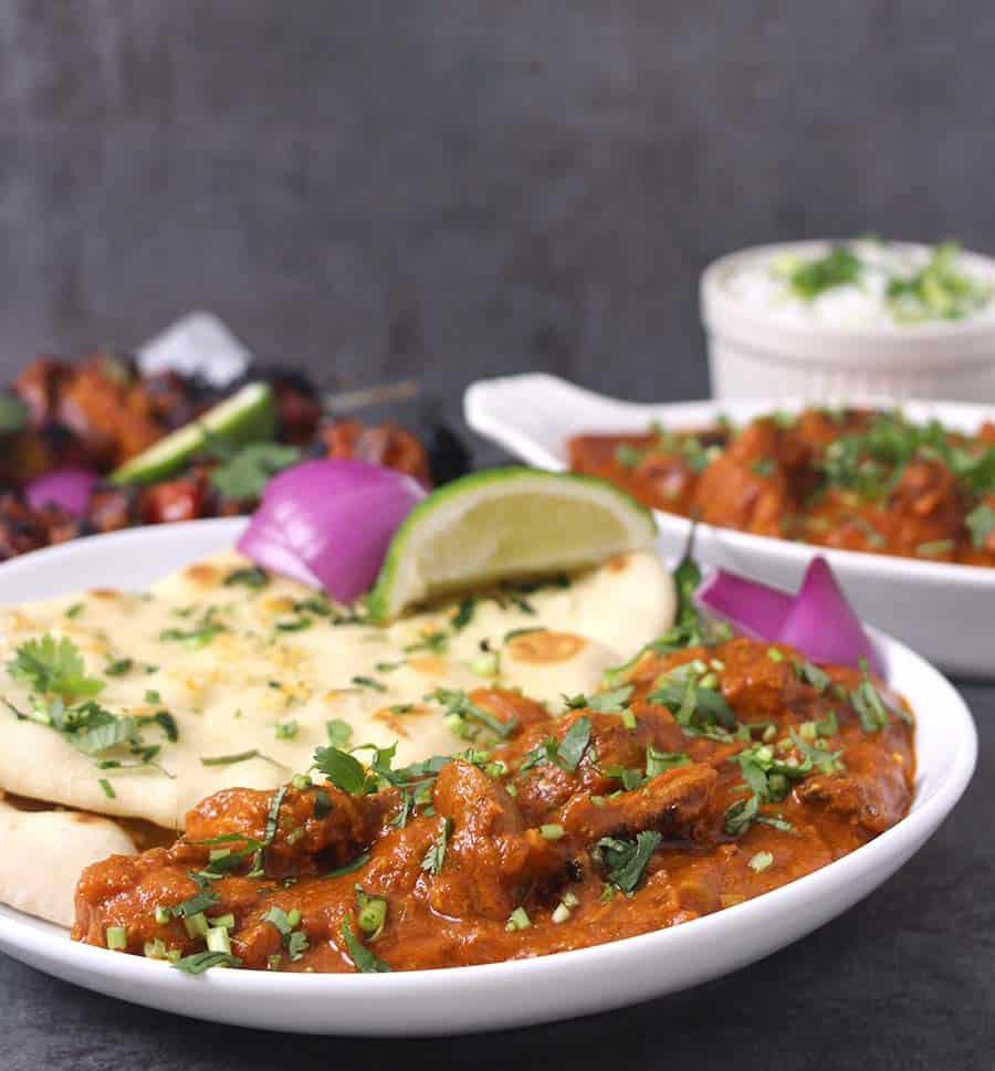 Yougurt based chicken marination, chicken tikka masala, chicken butter masala, garlic naan and chicken gravy, roti and chicken curry