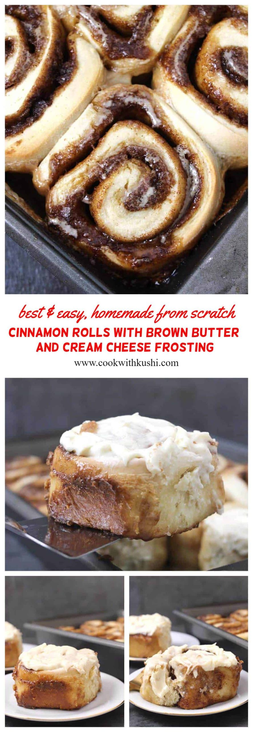 These homemade brown butter cinnamon rolls are rich, soft and gooey, the best and easy sweet rolls you will make at home this holiday season. The nutty and toasted flavor from brown butter enhances the taste of these baked rolls. #christmasbreakfast #holidaybreakfast #cinnamonrolls #danish #cinnamonswirl #cinnamonsnail #stickybuns #creamcheesefrosting #yeastrolls #cinnamonrolls