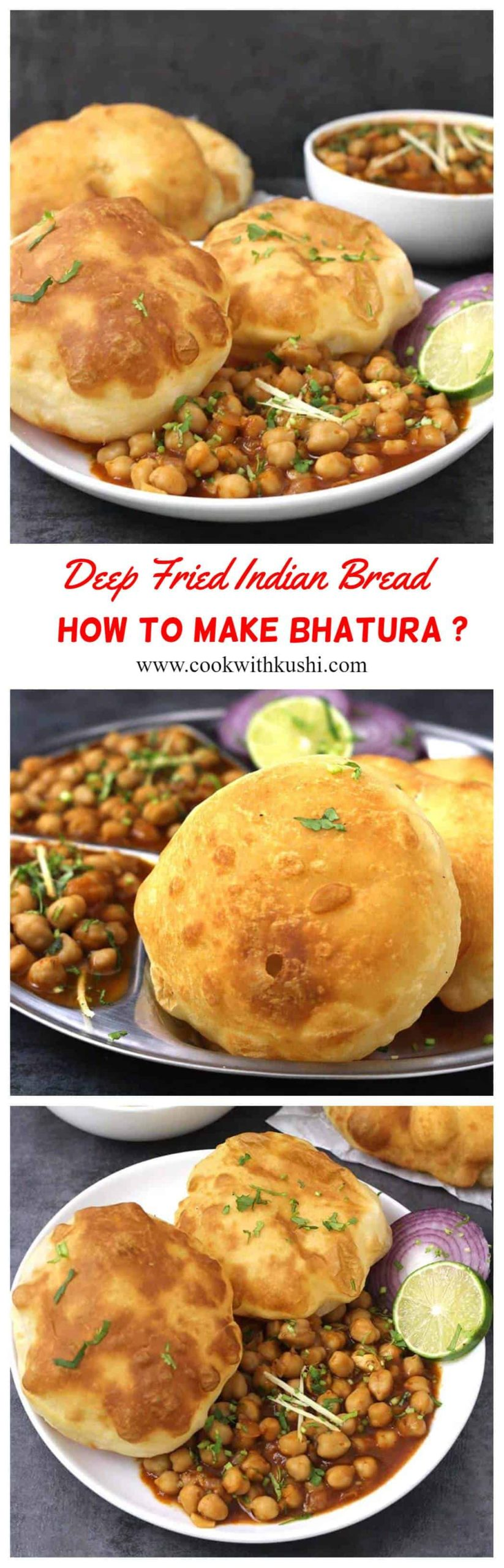 Bhatura or Bhature is deep fried Indian leavened bread that is crisp on outisde, soft and fluffy in texture that can be served anytime of the day. Chole Bhature or Chana Bhatura is a popular combo served in any restaurants or dhabas. #indianbread #indiabreakfast #streetfood #indianfood #indianrecipes #vegetarianrecipes #veganbread #lunch #dinner #mealideas
