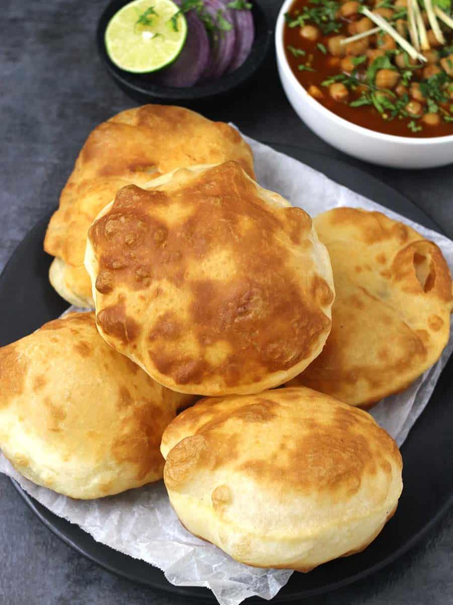 Bhatura, Bhature, Channa Bhatura, Easy Indian bread recipes, Breakfast recipes