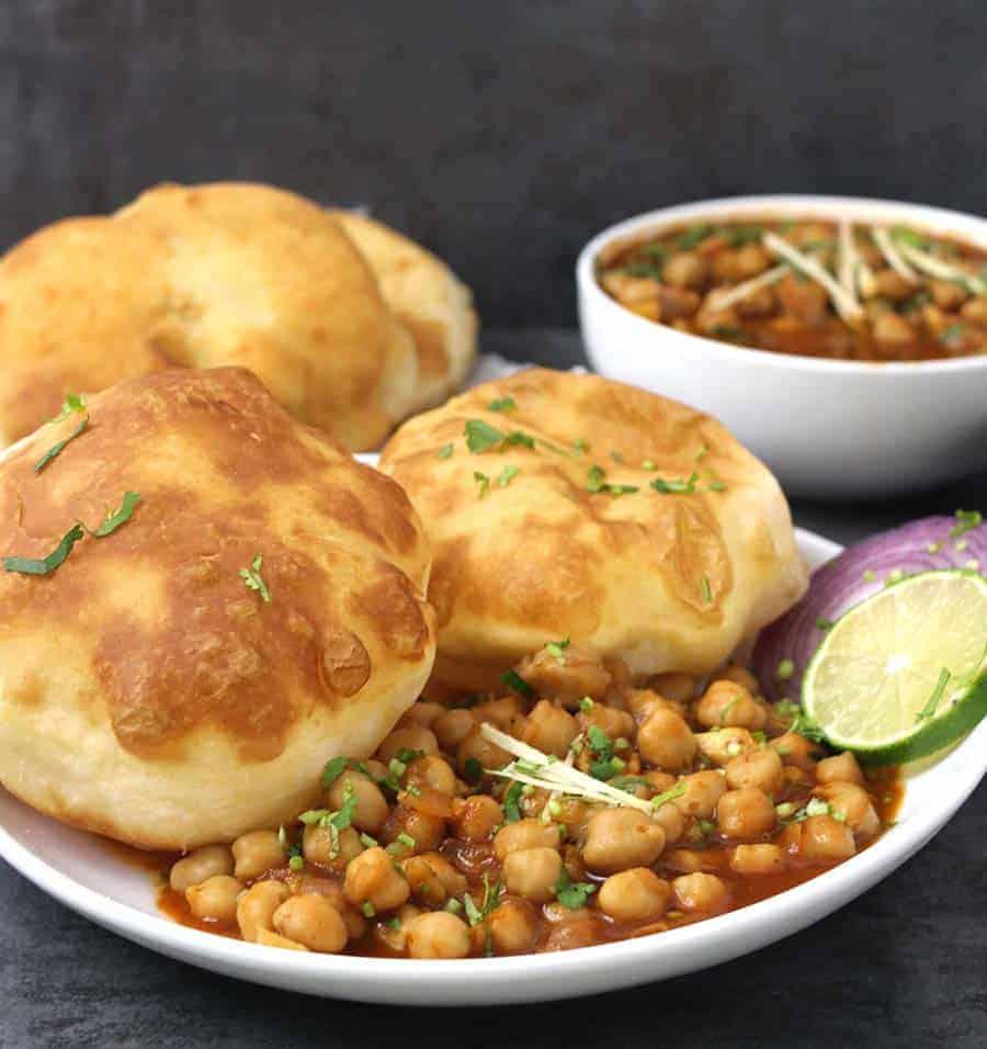 Chole Bhature, How to make bhatura, Punjabi Chana Bhatura, Indian vegetarian recipes for breakfast, lunch, dinner and snacks, instant bhature, bhatoora, batoora, batura, or pathora