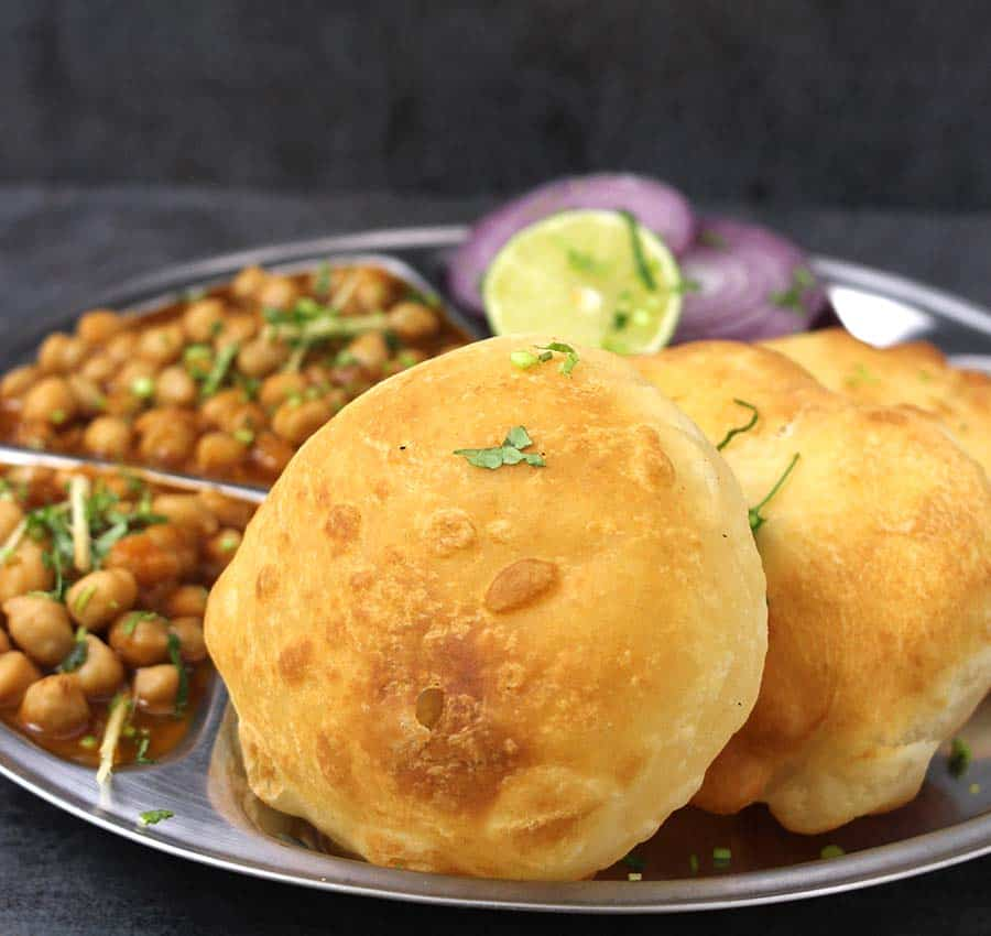Easy Bhatura or Bhature recipe, Chanan masala, Bhatura recipe with and without yeast