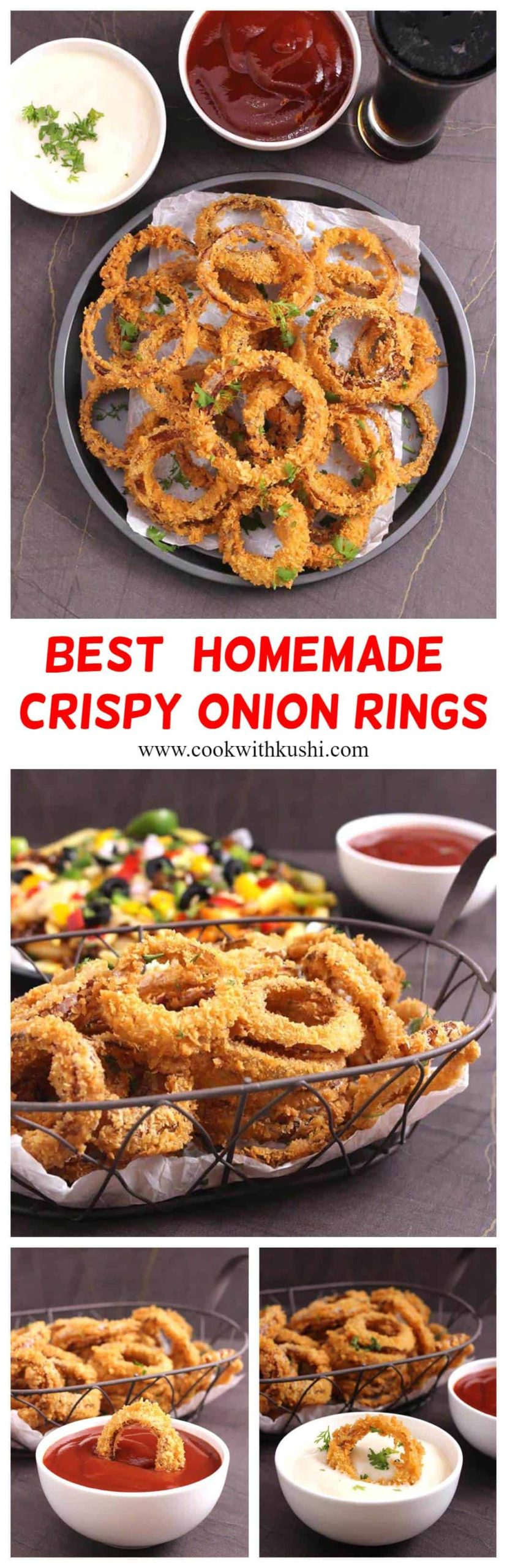 This recipe will give you the best homemade crispy onion rings ever!! The recipe below ensures that your onion rings are perfectly crispy every single time and never turns soggy. #appetizers #fingerfoods #partyrecipes #popularrecipes #onionrings #veganonionrings #airfryerrecipes #ketorecipes #superbowlfood #partyfood #footballfood #gamedayfood #gamenightfood