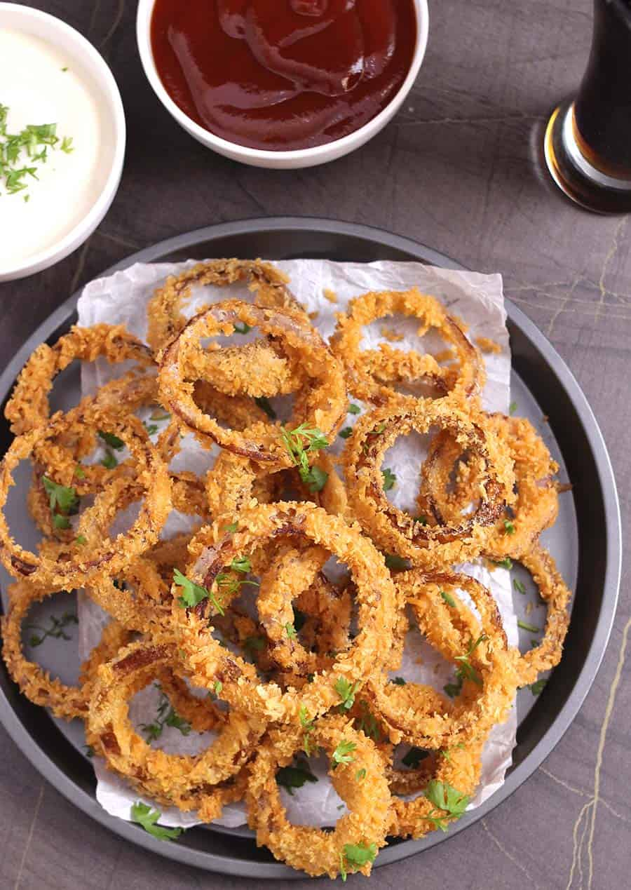 Best recipes to try using air fryer. Easy finger food, snacks, appetizers and sides for party, potluck, tailgate, game night, best onion rings near me