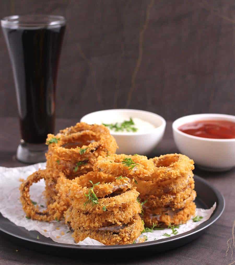 Onion ringlets, vegetarian recipes for lunch, dinner, snack beer battered fries