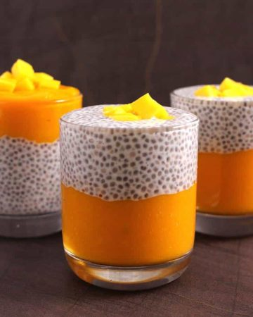Mango Chia seeds Pudding recipe - vegan, gluten free, keto, paleo, whole30, weight watchers food, weight loss diet recipe, make ahead breakfast, dessert, mid day snack, protein packed, summer food recipe ideas, no cook recipe, chia seed pudding with almond milk, soy milk, full fat coconut milk, cashew milk, overnight pudding, tropical pudding, vegan breakfast, weight loss smoothie, pudding with yogurt, chia seed recipes