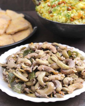 Tender Cashewnut Stir Fry | Bibbe Upkari , Konkani food recipes, amchi recipes, vegetarian meal, sides for lunch and dinner, cashew recipes, vegetarian and vegan breakfast, snack, accompaniments for flatbread, Ugadi and gudi padwa recipes, summer food recipes, seasonal recipes, coastal karnataka food, Indian festival recipes