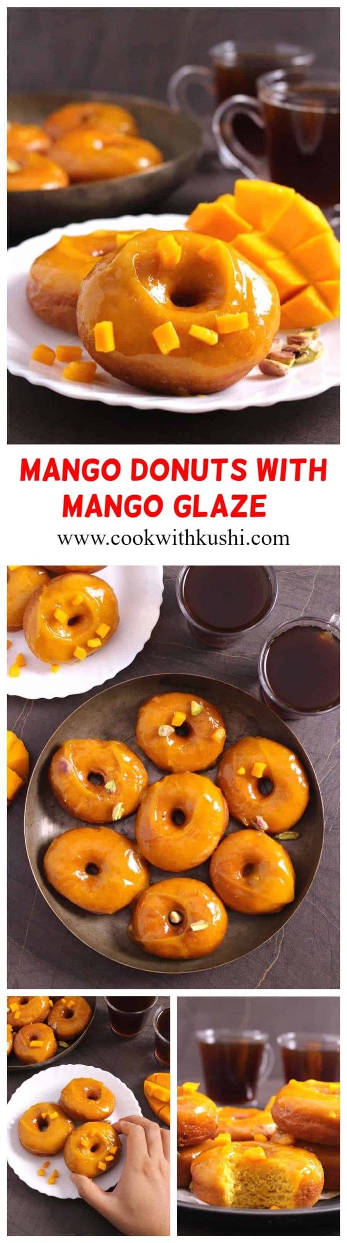 Mango Doughnuts (Donuts) with Mango Glaze are soft, moist and fluffy bursting with full of flavor from mangoes which is again then dipped in aromatic mango glaze . A double treat for all mango lovers!!! #doughnuts #donuts #glazeddonuts #vegandonuts #Homemade #baked #airfryer #frieddough #mangoes #Mnagorecipes #breakfast #desserts #food