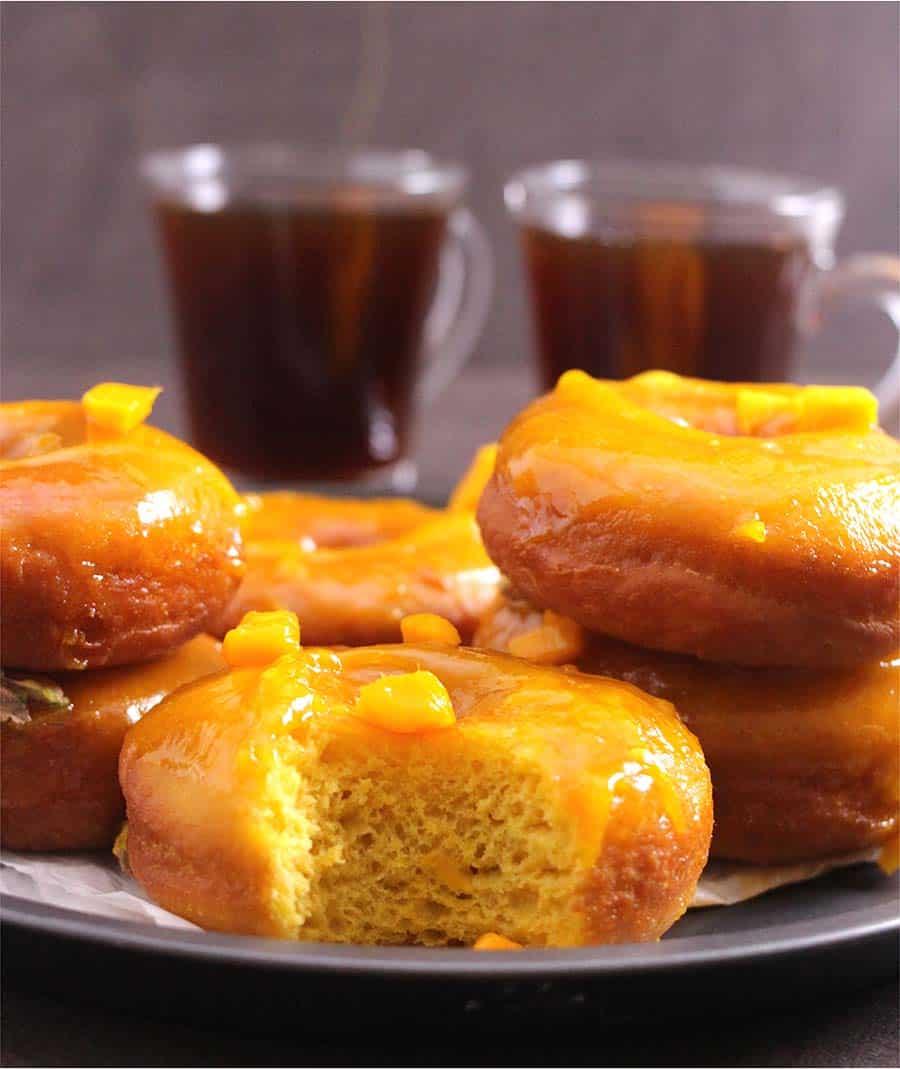 Mango Donuts, fried doughnut recipe, yeast doughnut, vegan donuts, dunkin donuts