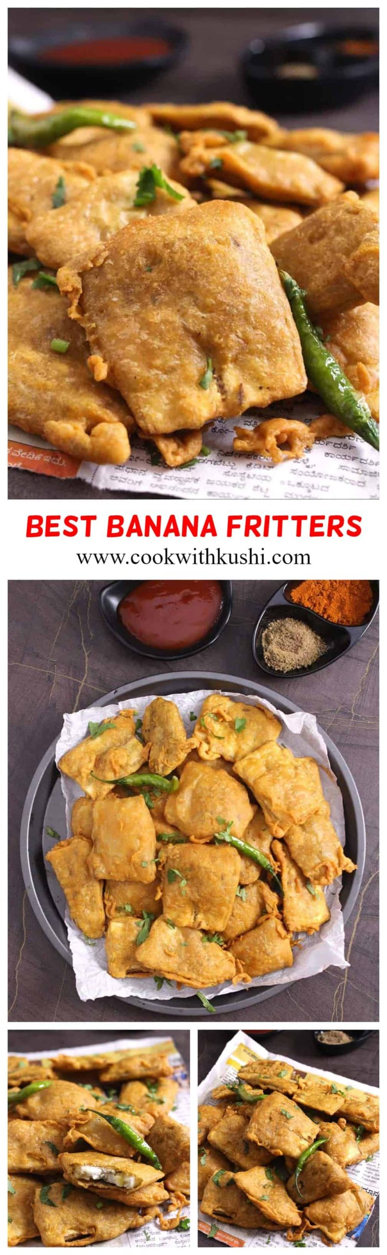 Banana Pakora is a easy to make, spiced and crisp Indian fritter that are addictive and so delicious that you just can't stop eating one. #pakora #pakoda #indianfood #indianrecipes #fritters